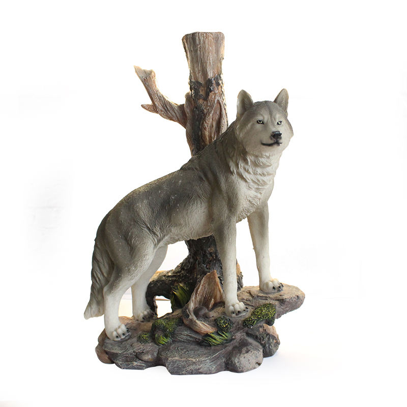 Custom Home Decoration Resin Animal Wolf Statue