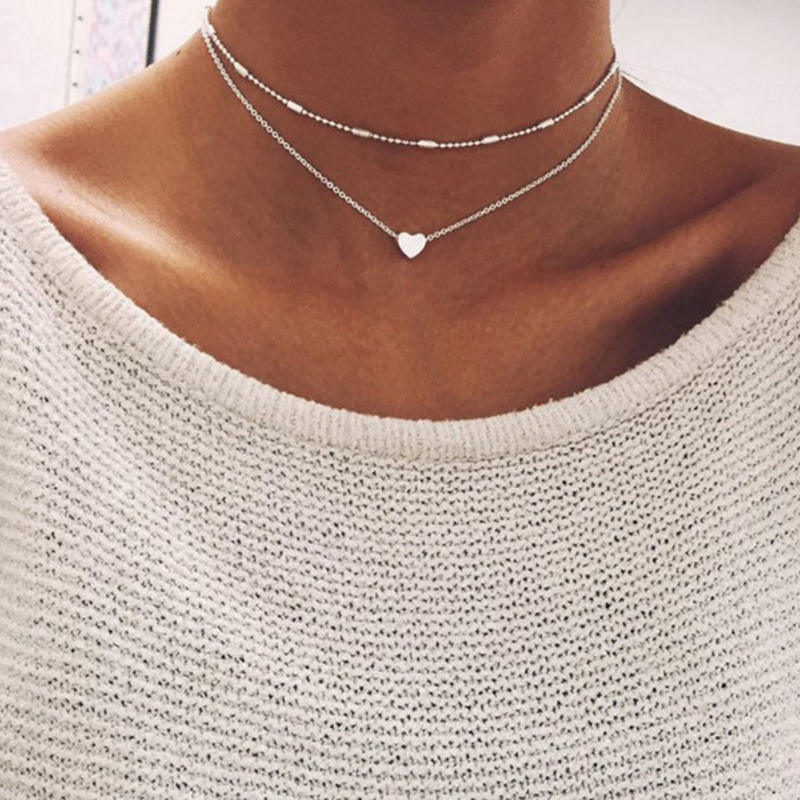 Hot sale minimalist style small love neck chain copper heart double pendant clavicle necklace