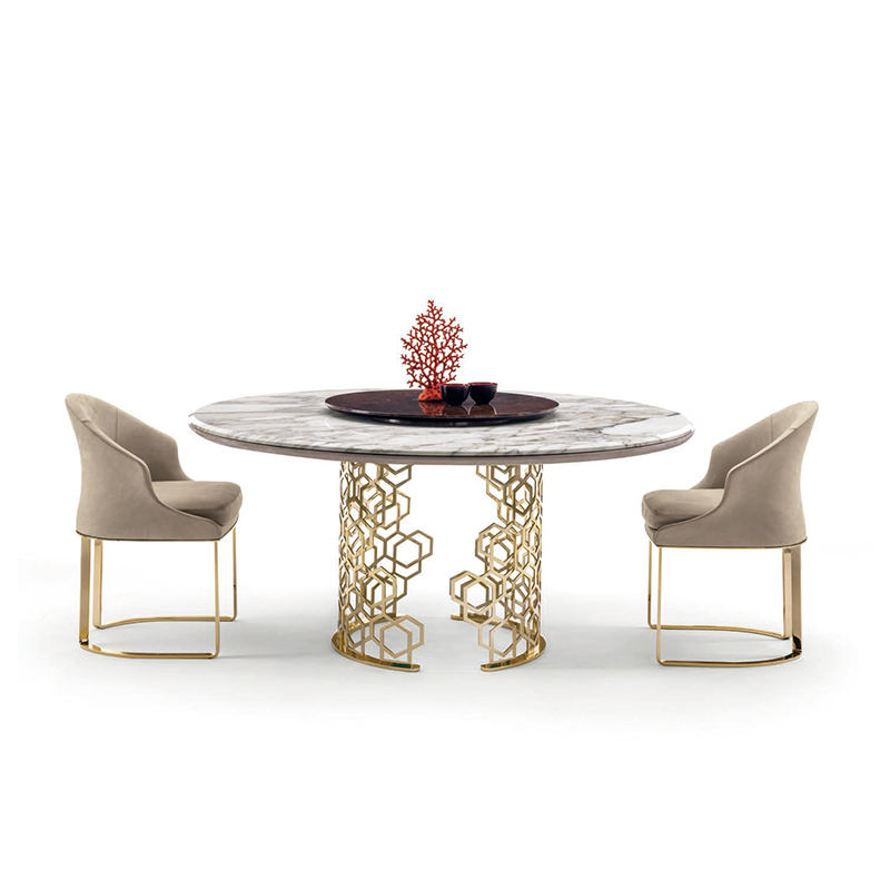 Fashion white calacatta round marble dining table for 8 person