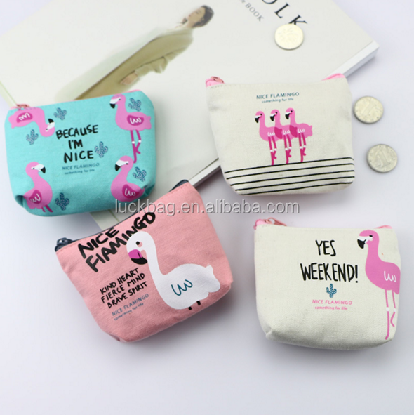 2020 Wholesale Cute Personalized Flamingo Printing Wallet Small Pocket Coin Purse
