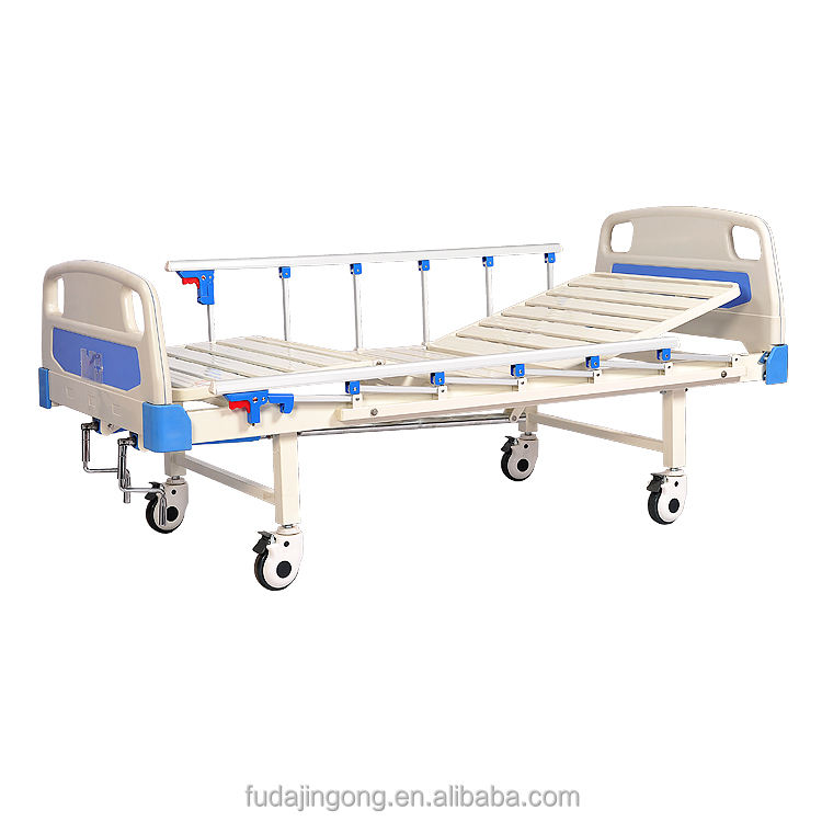 Baoding cheap price 2 cranks manual adjustable hospital bed with aluminum side rail