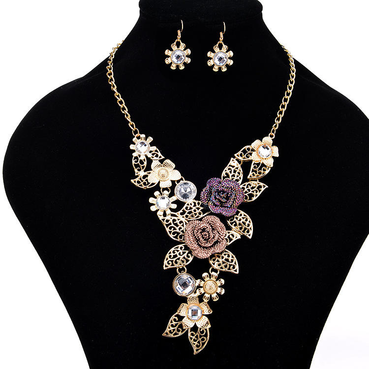 Austrian Crystal Rose Flower Leaf African Costume Jewelry Sets