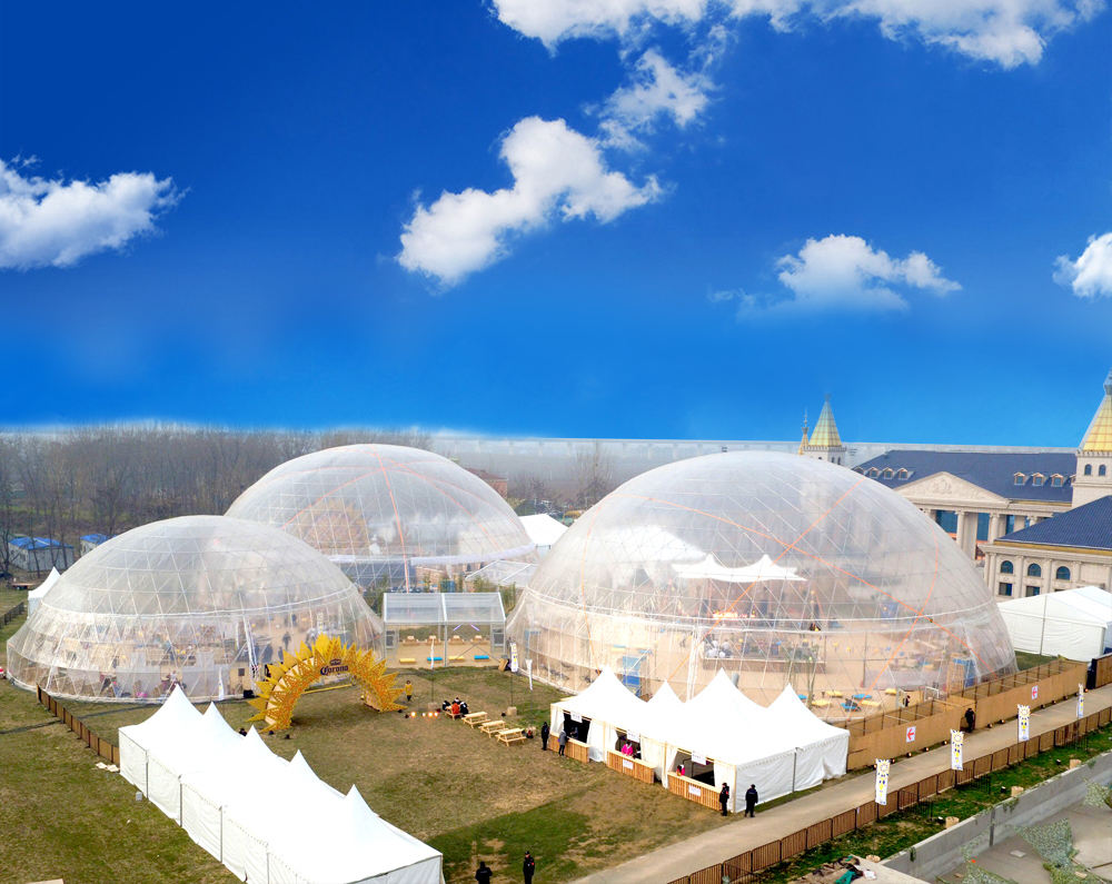 China Geodesic Dome the Strong Structure Steel Half Sphere Dome Tent With PVC Sidewalls wedding glass tent
