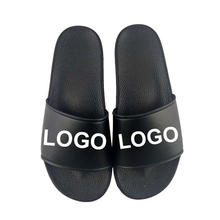 Greatshoe custom LOGO black sliders slippers for men ,custom blank slide sandals slippers, men custom slides footwear
