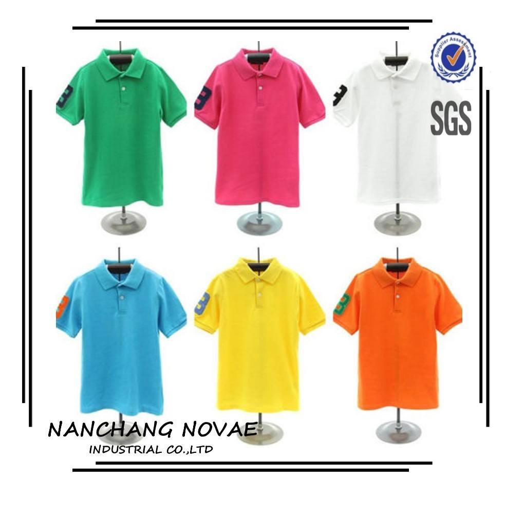 刺繍ソリッドカラー半袖ユニセックス子供ポロシャツ