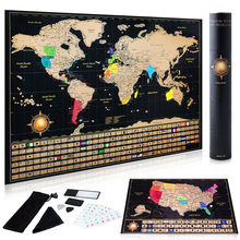 Scratch off World Map Poster + Deluxe United States Map INCLUDES Complete Accessories Set & All Country Flags AMA-48