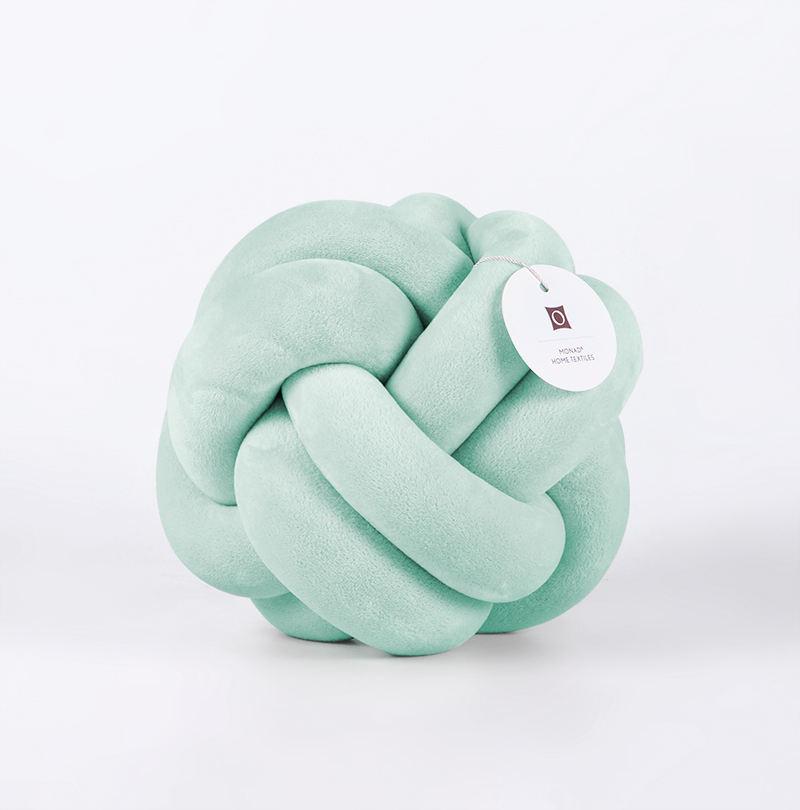 Decoración del hogar <span class=keywords><strong>moda</strong></span> terciopelo felpa suave nudo bola almohada Aqua Knotted cojín para bebés