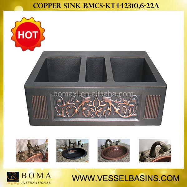 Handgehämmert Öl eingerieben bronze drei bowl antique <span class=keywords><strong>Kupfer</strong></span> spülbecken