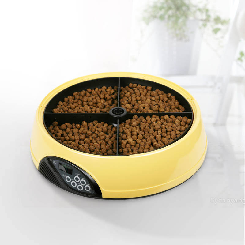 Pet feeder for dog and cat battery power supply bowl automatic