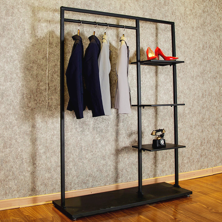 Custom Iron Black Metal Coat/Clothing/Shoes/Hat Shop Furniture Display Rack Stand For Specialty Modern Store New Shop
