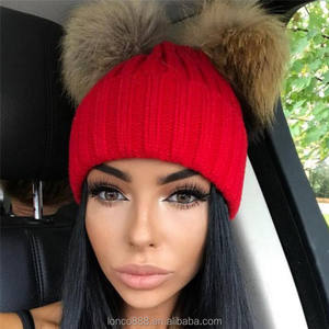 H95 Large Ball Women Hat Two Raccoon Fur Pom Knit Beanie Hat Lady Hat