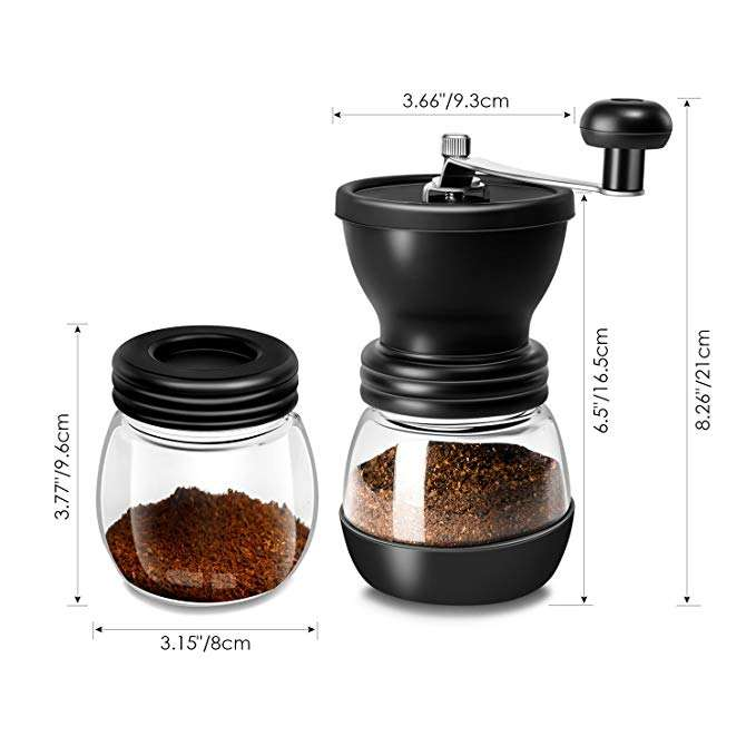 350ml/12oz Quiet and Portable Conical Ceramic Manual Burr Grinder Hand Crank Glass Coffee Mill