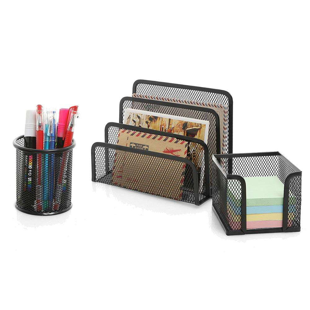 Wideny 친환경 분말 코팅 데스크탑 표 school supply metal wire mesh office 메트 vintage desk set 주최자 set