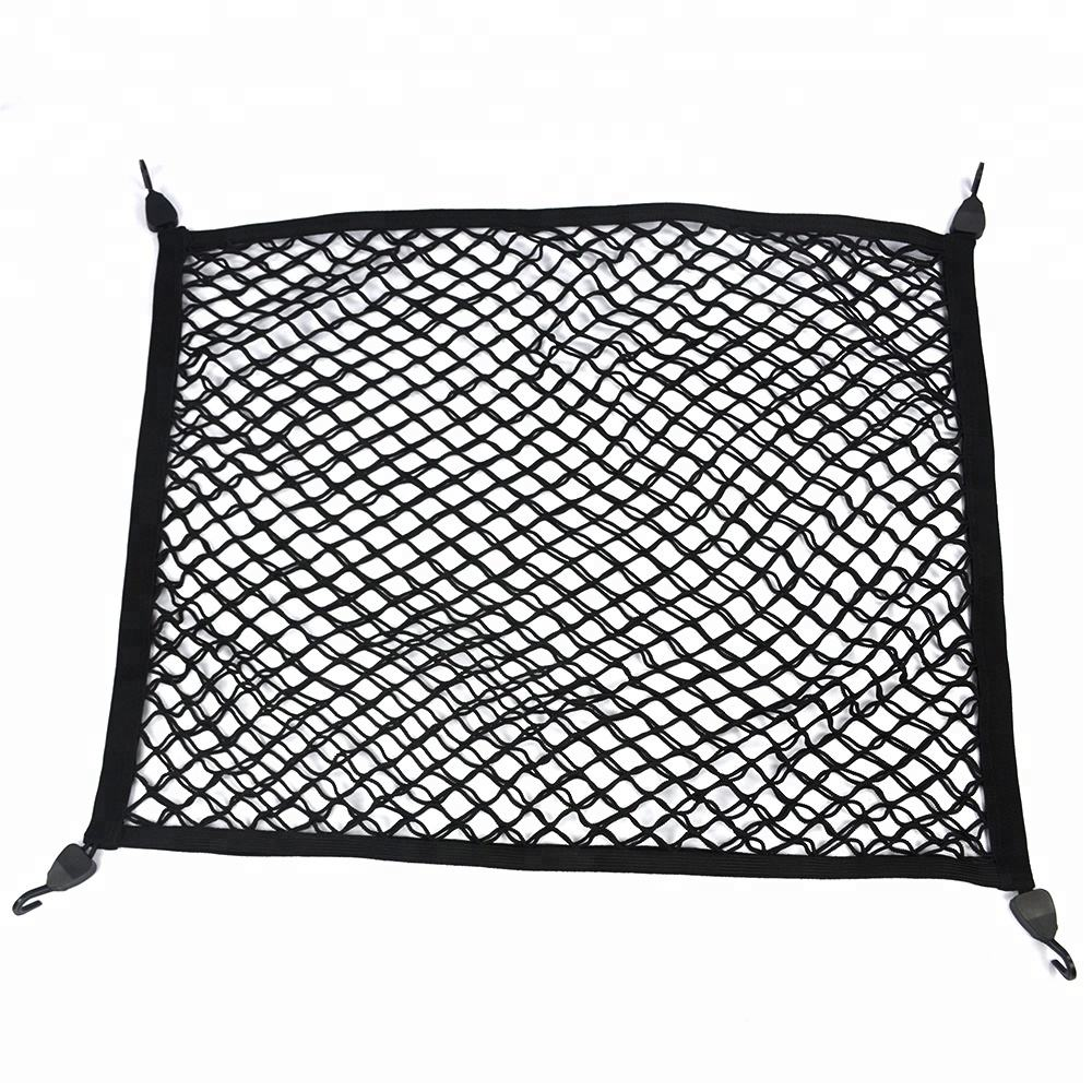 Hot sale car suv truck pickup elastic luggage cargo net with strong metal hooks