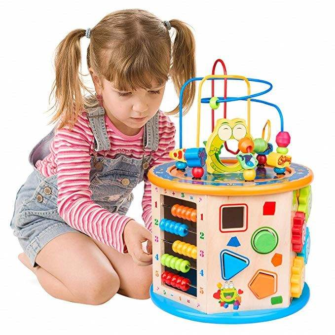 Multi-function wooden activity cube toys educational children shape match bead maze box toys