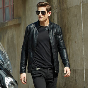 Fashion Punk Slim Fit Stand Collar Zip Up Motorcycle Pu Leather Jacket