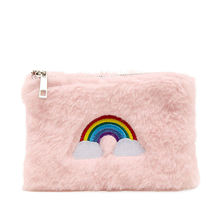 Pink rainbow embroidered pouch bag coin purse mini plush felt cosmetic bag