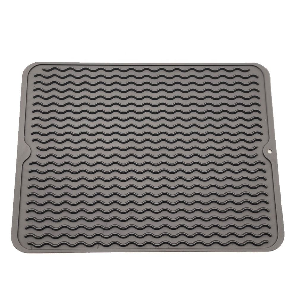 2020 Amazon Hot Waterproof Large Silicone Dish Drying Mat Heat Resistant Drying Mat Dishwasher Safe Draining Mat for Kitchen