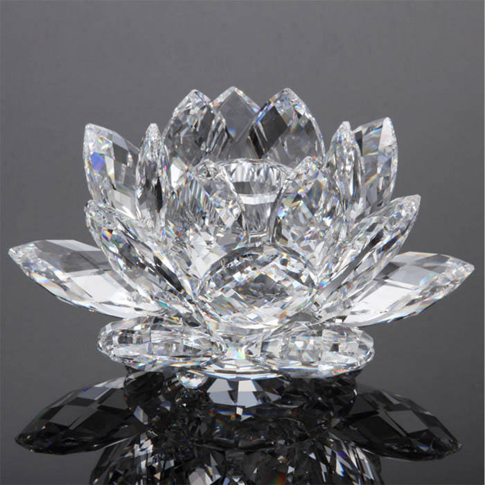 Clear crystal glass lotus for Buddhism gift, crystal flower for decoration