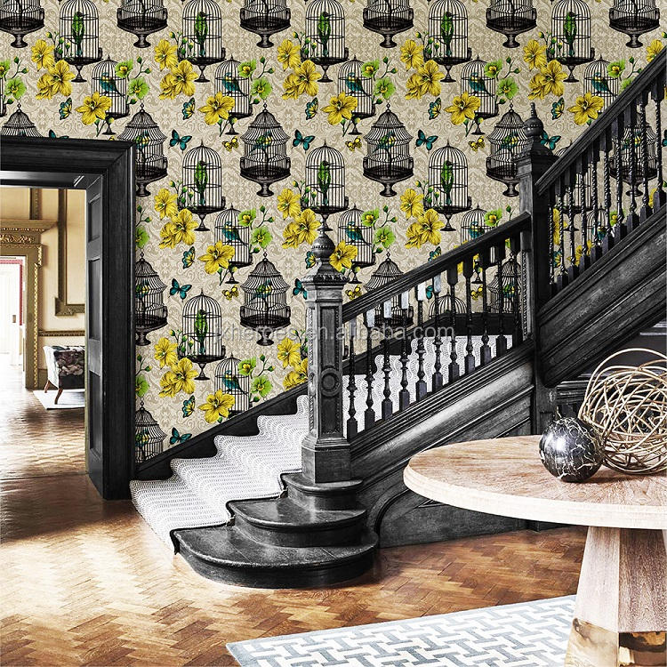 Elegant and Generous Birdcage Flower Pattern European Style Home Decoration Non Woven 3D wallpaper