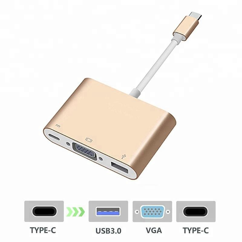 Type C USB C to VGA,USB Type C and USB 3.0 A Female Digital AV Adapter Support 4K for Apple 12-inch New Macbook