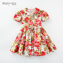 Summer kids flower fashion vintage 100%cotton floral children baby girls dresses