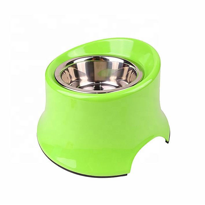 Wholesale Manufacturer Melamine Plastic Stand Elevated Inclined Dog Bowl for Dogs Adjustable Stainless Steel Bowl