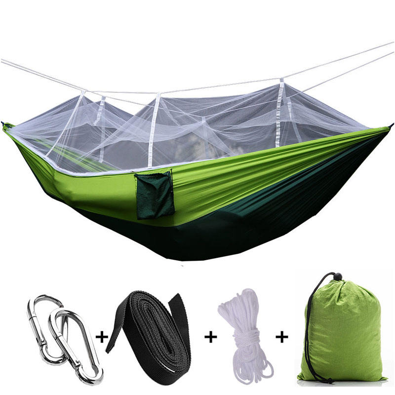 Ultra-Light Portable Camping Hammock with Mosquito Net Large Space Travel Camping Hiking Trip Parachute Hammock