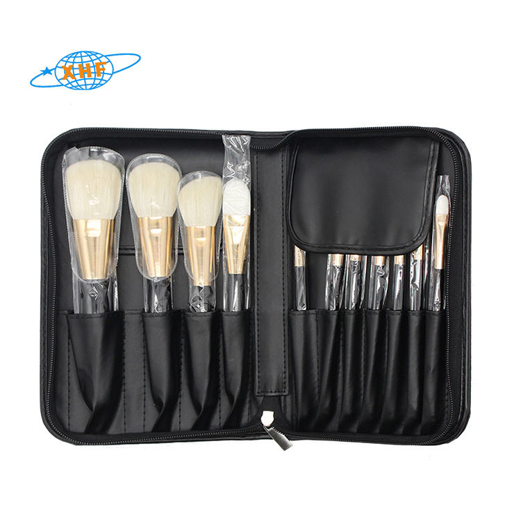 Customized Customize Make Up Bag PU 100% Leather Zipper Makeup Brush Set Organizer Packaging Bag Make Up Brushes Holder Case
