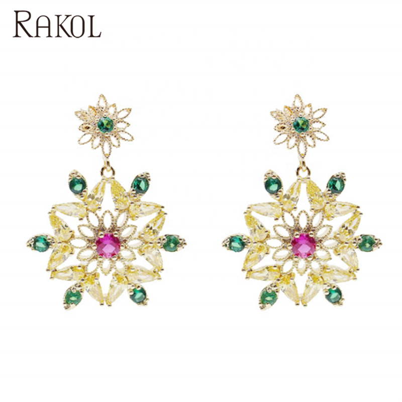 Rakol ZE1136 vintage fashion flower 18k gold emerald diamond cubic zircon drop earrings for women