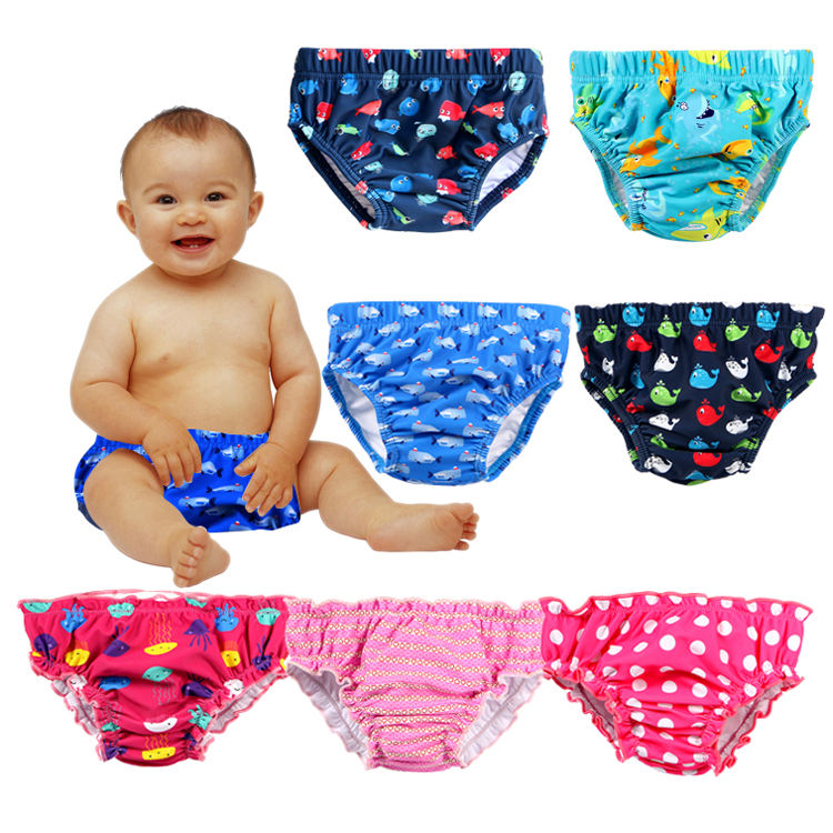 New pattern reusable soft cloth baby swim diaper cute infant nappy for swimming