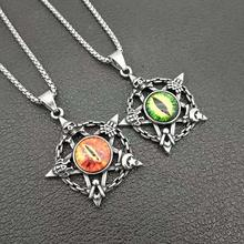 Vintage and Punk Devil's Eye Six-pointed Star Pendant Hexagram with Eye Necklace