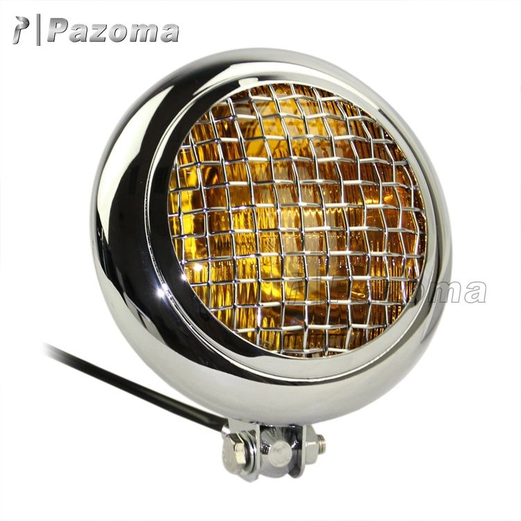 "Motorcycles 7.7"" Black Mesh Grill H4 55W Retro Motorcycle Headlight for Triumph Cafe Racer Scramb"