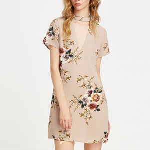 fashion manufacture garments new style deep v cut chiffon floral print summer dress