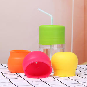 Silicone Rubber Cup Lid With Straw, Clear Custom Reusable Flexible Food Grade Silicone Lid Sets