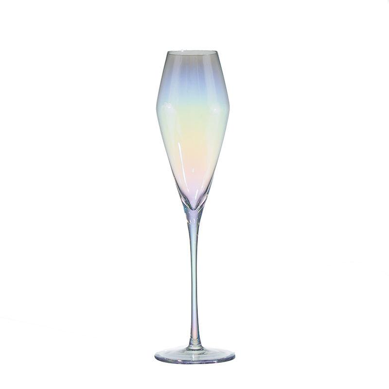 275 Mm Hauteur 8 Onces 240 Ml Arc-En-Ciel Fer Galvanoplastie Coloré Moët Tulipe Champagne En Forme De Gobelet En Verre