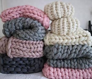 Hand Knitting Chunky Yarn Merino Knit Wool Blanket