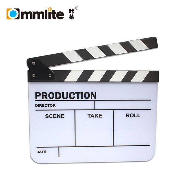 Photography Studio Camera Video TV Acrylic Clapper Board Dry Erase Film Slate Cut Action Scene Clapper with Yellow//Black Sticks 9.6x11.7 inch//25x30cm Professional Movie Directors Clapboard White