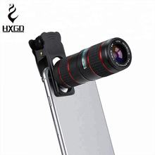 HXGD 12x cell phone lens kit 5 in 1 zoom lens wide angle lens and fish eye
