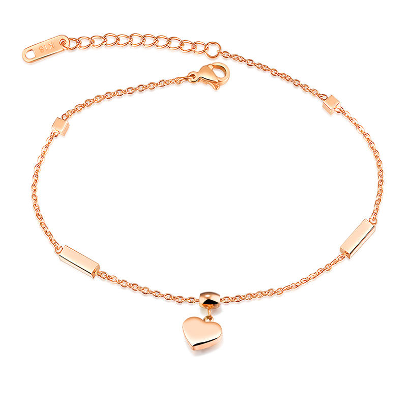 JTGZ028 Romantic Heart Design Ankle Bracelet For Woman Fashion Stainless Steel Women Anklets Jewelry Gift