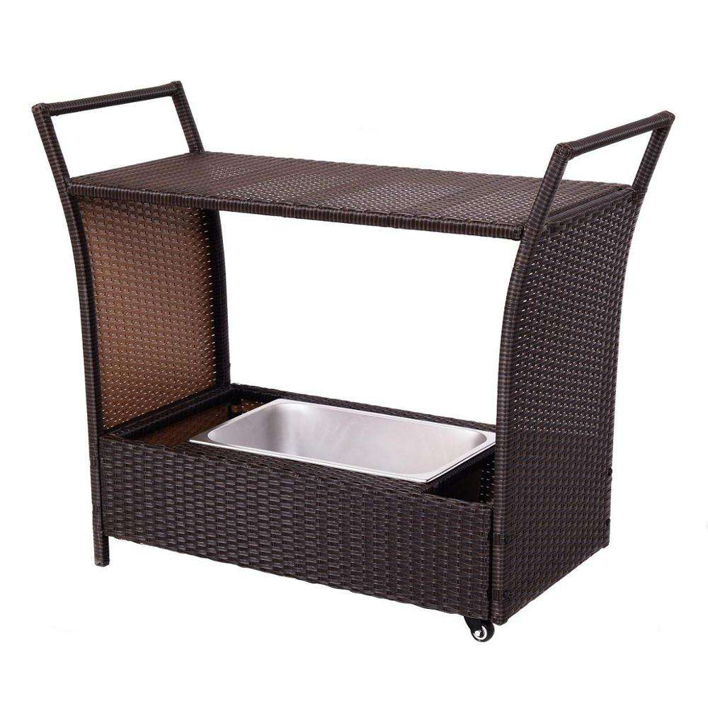 Outdoor Patio Wicker Furniture Rolling Rattan Trolley Cart with Storage Box