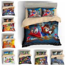 TINGYU 9 Colors Selectable 4 Pieces King/Queen/Twin Size Microfiber Mario Games Printing 3D Bedding Set