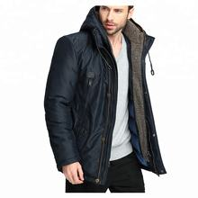 Parka Men Thick Heavy Fleece Lined Hooded Warm Long Jacket Puffer Coat Male Padded Overcoat Fake Two Pieces