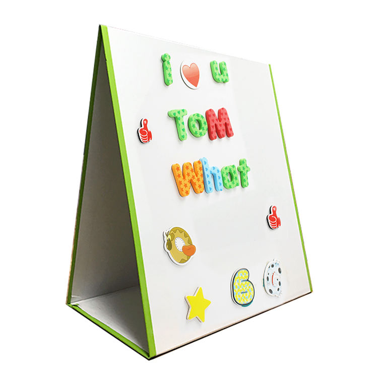 Double Sided Kids Educational Tabletop Writing Drawing Easel Green Edge Dry Erase Magnetic Foldable Whiteboard For Home
