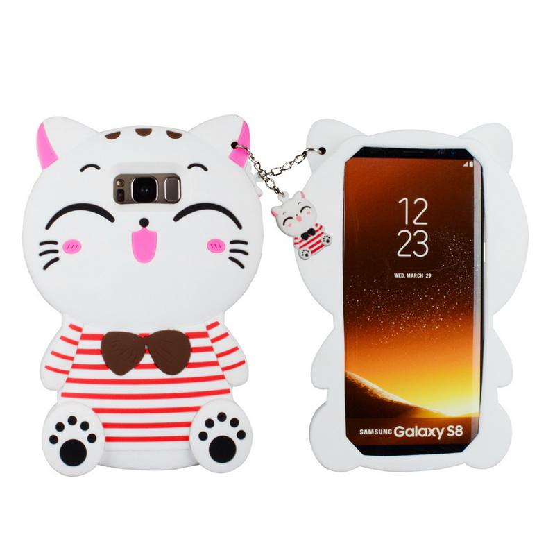 Custom Made Back Cover 3D Cute Bow Tie Cat Kitty Full Body Protection Smartphone Accessories Case Cases For Samsung S8