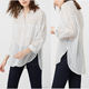women fashionable shirt style collar long sleeve with loops to roll up the sleeve two patch pockets on the chest and side slit