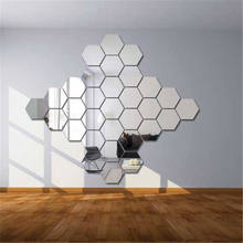 6 Pcs/Set XXL Hexagon Mirror Wall Stickers 3D Acrylic Mirrored Decorative Sticker Waterproof Home Decor custom stickers
