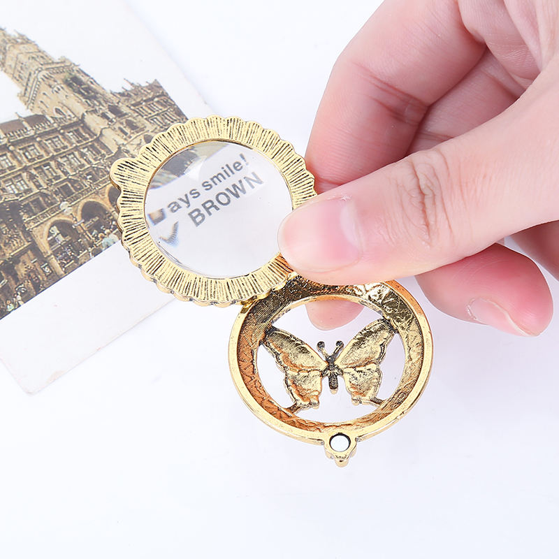 New fashion exaggerated Magnifying Glass Butterfly Pendant Necklace extended personality mirror sweater chain necklace
