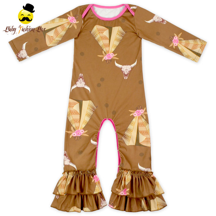 2LLY-198 Yihong Christmas Infant Boutique Printed Deer-head Winter Long Sleeve & Pants Ruffle Baby Bubble Romper
