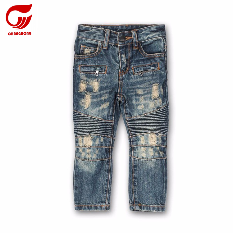 boy biker jeans kids denim pants OEM